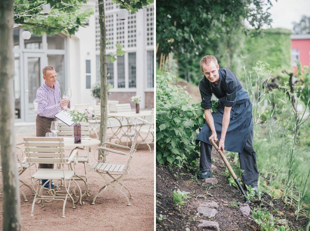 Kellner auf Terrasse mit Weinglas und im Garten im Elements Dresden fotografiert von Marlen Mieth