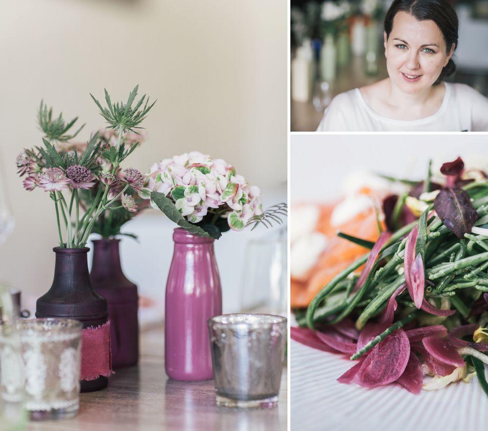 Hochzeitsdekoration in lila mit Distel und Blumen von Martina Starovičová fotografiert von Hochzeitsfotografin Dresden