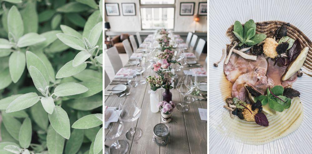 Hochzeitsfotografin Dresden hält Atmosphäre Tischdekoration mit Blumen Salbei und Dessert fest